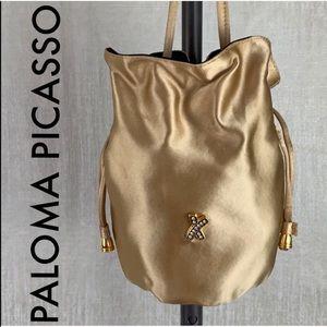 👑 PALOMA PICASSO SILK SHOULDER EVENING BAG 💯AUTH
